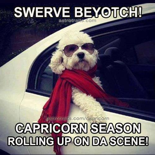 funny meme swerve beyotch capricorn season rolling up on da scene