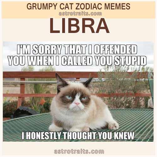 Libra Zodiac Meme - Grumpy Cat